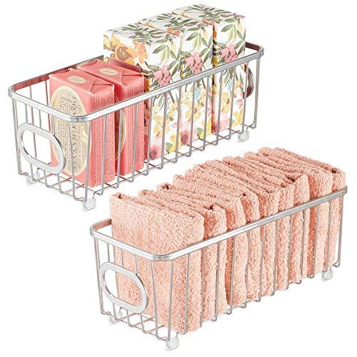 mDesign Set da 2 Contenitore con manici integrati – Piccolo organizer da bagno in filo metallico – Pratico cesto per cosmetici, accessori bagno e asciugamani – argento