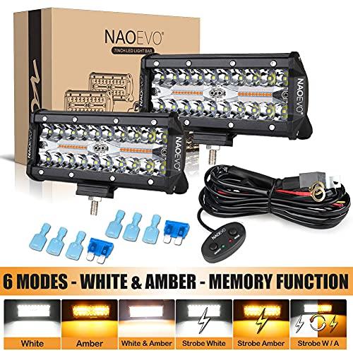 NAOEVO LED Light Bar Strobe Lights 7inch, 6 Modes 240W Amber...