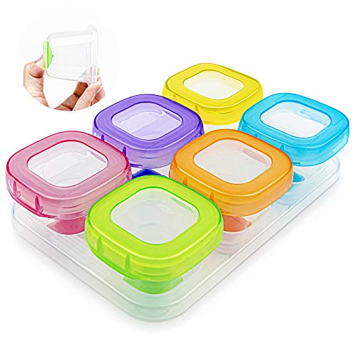 Kosiy 6Pcs 2oz Baby Food Blocks Containers, Leakproof Baby Food Containers with Lid and Soft Base, BPA Free Resuable Baby Food Jars for Freezer, Microwave, Dishwasher Safe