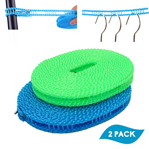 EverSport 2 Pack Clothesline Clothes Drying Rope Portable Travel Clothesline Adjustable for Indoor Outdoor Laundry Clothesline, Perfect Windproof Clothes Line, Hanger for Camping Travel & Home Use