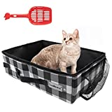 SCENEREAL Cat Travel Litter Box with Bowl & Scoop, Collapsible Portable Cat Litter Box, Feeding Bowl and Scoop for Free, Travel Litter Box for Cats Lightweight Waterproof