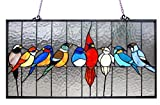 stained glass birds window panel - Chloe Lighting Tiffany Style Featuring Birds in The Cage Window Panel