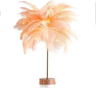 YUXINYAN Lampe de Salon à Poser Plume Lampe Fille de Chevet Lampe de Lecture for Livre Lampe de Table for Chambre Lampe de...