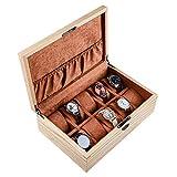 Caja de la caja del colector del reloj de 10 tragamonedas, caja de almacenamiento de reloj de madera de alto grado, visualización del organizador de reloj para las mujeres regalo de los hombres