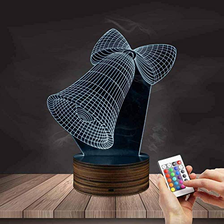 WMING Home Weihnachtsglocken-Nachtlicht, 3D LED-Farbwechsel-Tisch-Schreibtisch-Lampen-Fernbedienung der optischen Tuschung