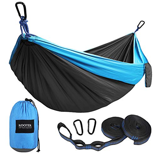Kootek Camping Hammock Double & Single Portable Hammocks with 2 Tree Straps, Lightweight Nylon Parachute Hammocks for Backpacking, Travel, Beach, Backyard, Patio, Hiking (Dark Grey & Sky Blue, Large)