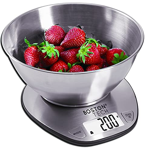Balance de cuisine numérique avec bol amovible en acier inoxydable, écran LCD rétroéclairé, minuteur et capacité 5 kg / 11 lbs fonction tare et zéro avec piles modèle HK110