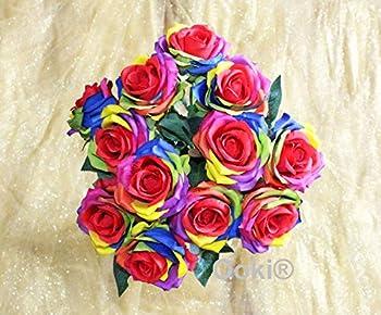 12 Long Stem Artificial Silk Rainbow Rose Flower Bush Bouquet for DIY Any Arrangement Home Decor Wedding Party Celebration