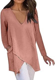 TIANMI Women Casual Solid Irregular Hem V-Neck Long Sleeve Pockets Top Blouse