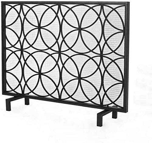 UWY Fireplace Screen Large Wrought Iron Flat Fireplace Screen, Durable Frame and Metal Mesh, Free Standing Safety Spark Guard, 1052068cm (Color : Black, Size : 1052068cm)