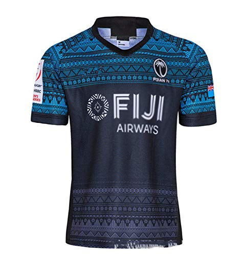 Herren Rùgby Jérsey 2020 Fǐji Rùgby Poloshirt Trainings-T-Shirt Unterstützer Fußball T-Shirt Sport Top,Black-L