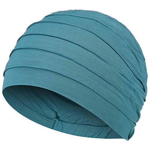 Christine Headwear Gorro oncológico Yoga con bambú hipoalergenico (Azul petróleo)