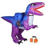 eecoo Spooktacular Creations Disfraz Inflable de Dinosaurio Montando un Raptor Air Blow-up Deluxe Disfraz de Halloween para Adultos Niño con soplador de Aire Festivales Decoración de Fiesta(Púrpura)