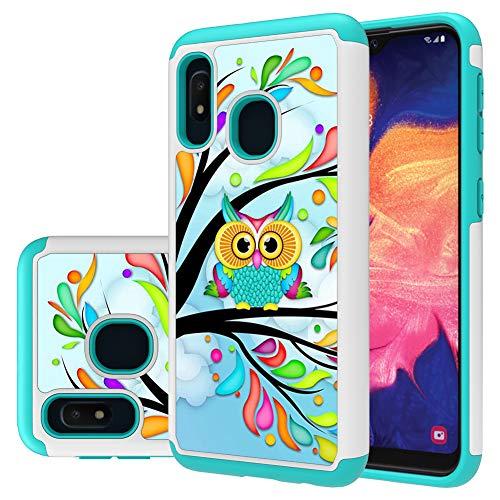 Galaxy A10e case,Samsung A10e case,MAIKEZI Hybrid Dual Layer TPU Plastic Armor Defender Phone Case Cover for Samsung Galaxy A10e (Armor Green Owl)