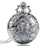 Orologio da tasca, argento treno testa viaggio ferroviario modello orologio da tasca per gli uomini, orologio da tasca regali di Natale