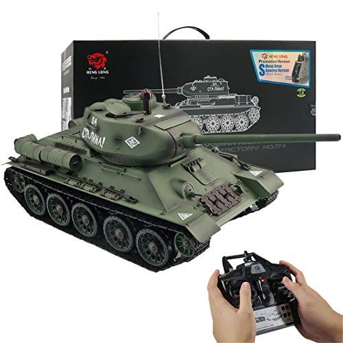 FADY RC Panzer, Ferngesteuerter Militärpanzer T-34 mit Schussfunktion 1:16 mit Rauch&Sound und Metallgetriebe -2,4Ghz -V7.0 (Upgrade der Metallgetriebeversion)