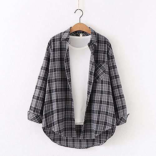 Skjorta Damens Tiofärgade Rutiga Skjorta Kvinnors Långärmade Lösa Skjortjacka Matchblus Modeblus Kvinnor Applicerar På Arbete Eller Dagligt Slitage Etc-Green_S