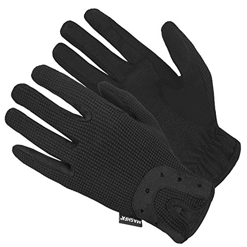 Ladies Women Horse Riding Gloves Cotton Dublin Track Fabric Shires Gloves Leather Equestrian 1 Year Warranty Gloves (Medium)