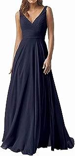 Double V Neck Elegant Bridesmaid Dresses Long Chiffon Wedding Evening Party Dress