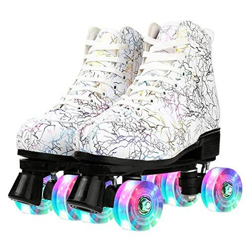 litulituhallo Women's Roller Skates Graffiti High Top Double Row Adjustable with Flashing White Black Size 39