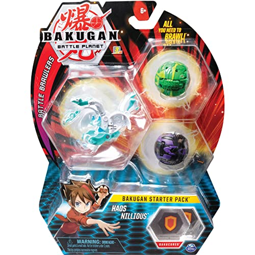 Bakugan Starter Pack mit 3 Bakugan (Ultra Haos Nillious, Basic Darkus Pegatrix, Basic Ventus Serpenteze)