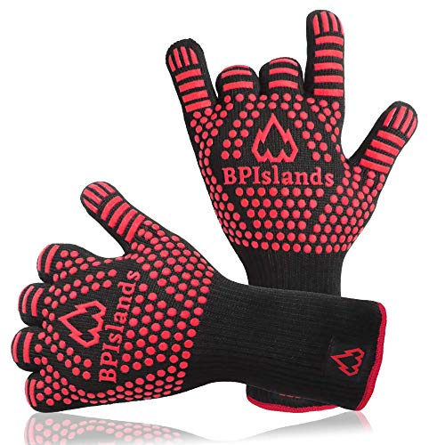 BBQ Heat Resistant Gloves 1472℉ for Men and Women - Extreme Heat Proof Grills Glove with Non-Slip...