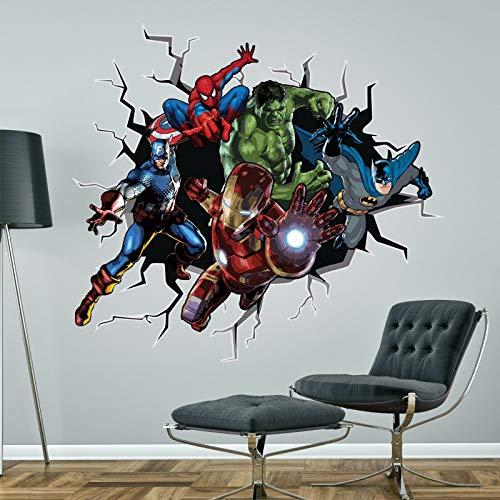 Adhesivo decorativo para pared, diseño de superhéroes de Batman HULK SPIDERMAN CAPTAIN AMÉRICA Ironman Marvel, tamaño grande, 118 cm de alto x 130 cm de ancho)