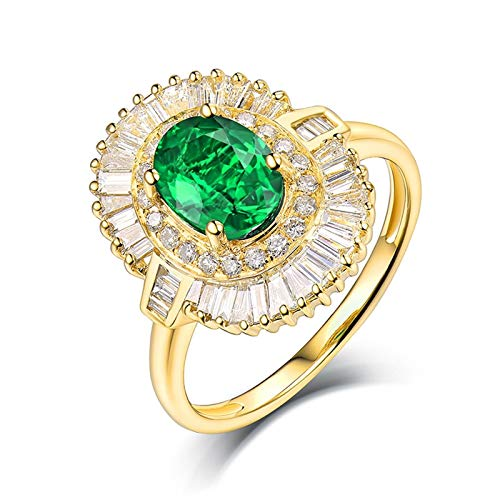 AtHomeShop Real Gold Collection, 18K Yellow Gold Rings, Flower Solitaire Ring with Shiny Oval Emerald and Diamond Marriage Proposal Ring Gift for New Year and Valentine's Day, Polished gold