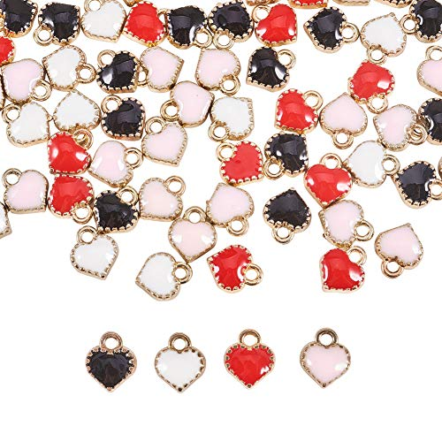 PandaHall Elite 80 stücke 4 Farbe Herzanhänger Anhänger Vergoldet Emaille Herz Perlen Baumeln Charme für Valentinstag Halskette Armband Ohrringe DIY Schmuck Machen