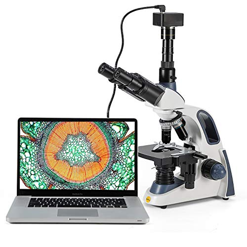 Swift Compound Trinocular Microscope SW380T,40X-2500X Magnification,Siedentopf Head,Two-Layer Mechanical Stage,with Swiftcam 5 Megapixel Camera and Software Windows/Mac/Linux and USB 2.0 Cable