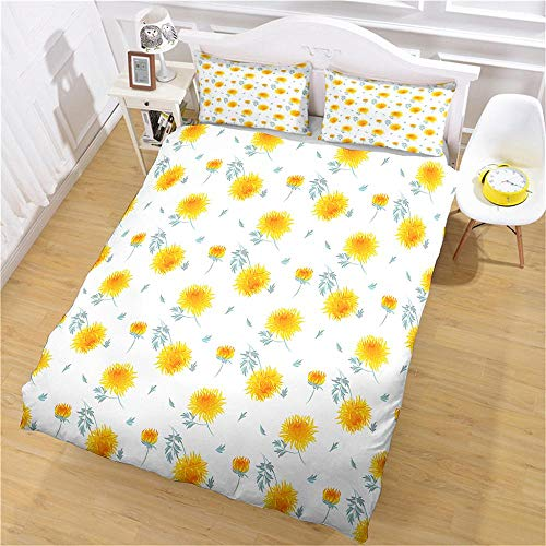 PERFECTPOT King Size Duvet Cover Set Yellow Flower Plant Bedding Quilt Set with 2 Pillowcases in Polyester with Zipper Closure, 1 Duvet Cover 230x220 with 2 Pillowcases for Children Adults