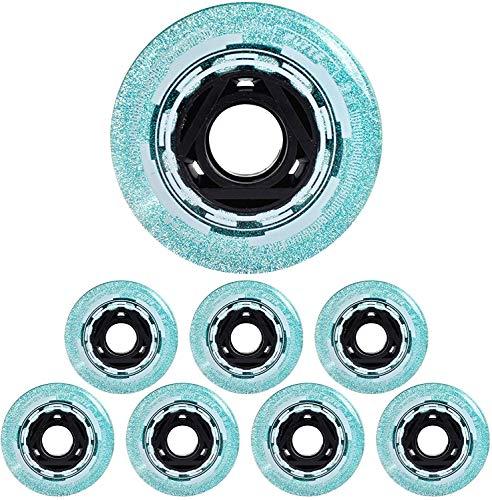 YSHUAI Starry Inlineskate-Rollen, 72 mm, 76 mm, 80 mm, 82 A, Ersatzräder, Blau und Rot, 8 Stück, Blau, 76 mm
