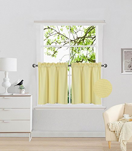 Fancy Collection 2 Panel Yellow Bedroom Curtains Blackout Draperies Thermal Insulated Solid Rod Pocket Top Drapes for Kid's Room, Bathroom, Kitchen Privacy Window Dressing New
