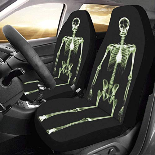 Artsadd Skeleton Fabric Car Seat Covers (Set of 2) Best Automobile Seats Protector
