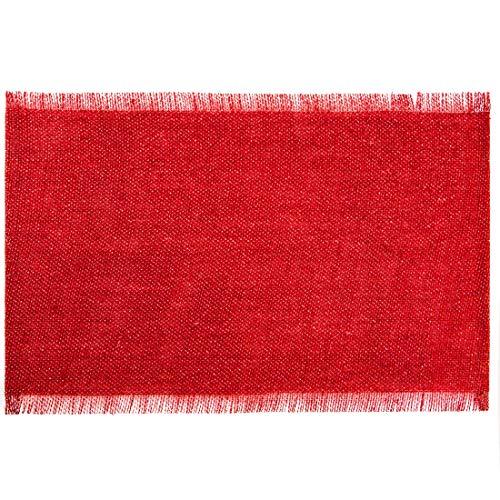 Eurofirany onderzetters, onderzetters, tafelmatten, placemats, placemats, placemats voor 6 personen, 6-delige tafel-onderlegger, rechthoekig, rood, 30 x 45 cm