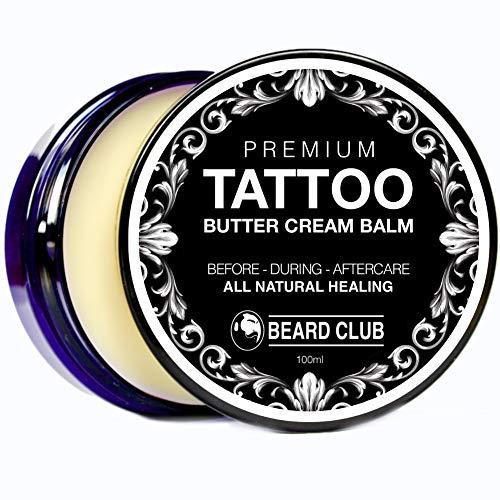 Bálsamo Premium Crema de Manteca Para el Cuidado de Los Tatuajes | Cuidado Natural Para Antes, Durante y Después de un Tatuaje | Sana Más Rápido, Reduce la Picazón y las Costras, Hidrata y Mantiene