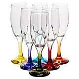 6 x 19cl Champagne Glasses Coloured Stem