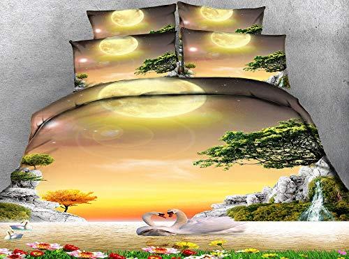 PERFECTPOT Juego de Ropa de Cama 3 Piezas Impresión Digital Lago De Los Cisnes Luna Fundas de Edredón Poliéster 1 Funda Nórdica con Cremallera Oculta y 2 Funda de Almohada, 260x240cm