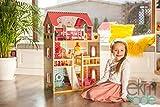 ekmTRADE Öko Hölzerne Puppenhaus mit Zubehör 90cm, 5 Zimmer + Terrasse, 17 Möbeln, 2 Puppen...