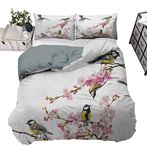 Bedspread Quilt Set Duvet Cover Birds Luxury Lightweight Set Group of Cute Hummingbirds on Flowering Branch Best Friends Peace Illustration Home,3 Piece Bedding Set,Queen/King Size