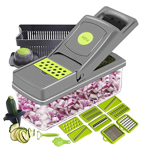 ZeeMart Mandoline Slicer Cutter Chopper and Grater 15 in 1 Veggie Chopper with Spiralizer Tools Tomato Carrot Cutter Salad Potato Cheese Slicer with Container