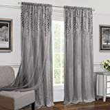 Achim Home Furnishings Panel de cortina para ventana con cortinero de sauce, Gris, 42' x 84', 1 unidad