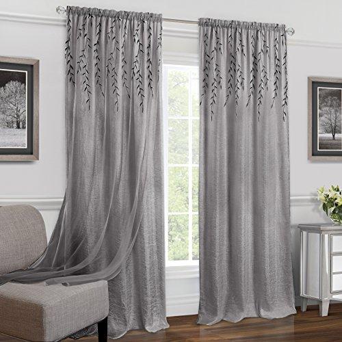 "Achim Home Furnishings WIPN84GY06 Willow Rod Pocket Window Curtain (Single Panel), 42"" x 84"", Grey"