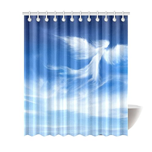Custom Shower Curtain Angel in The Sky Waterproof Polyester Fabric Bathroom Sets Home Decor 72×84 Inch