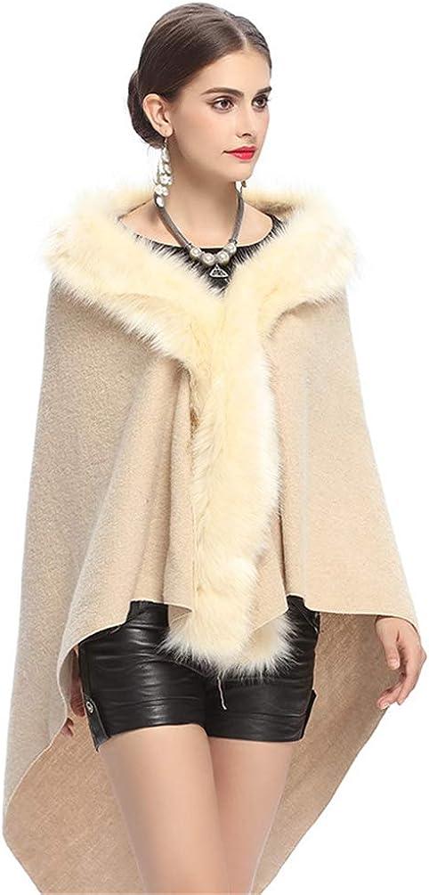 Women's Faux Fox Fur Shawl Cloak Cape Coat With Floral