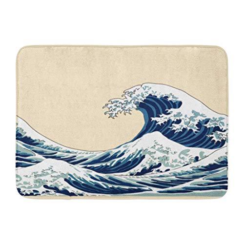 LnimioAOX Alfombras de baño Alfombras de baño Alfombrilla para Puerta Exterior/Interior Patrón Azul Ola Japonesa del océano Hokusai Agua Mar asiático Decoración de baño Alfombra Alfombra de baño
