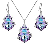 EVER FAITH 925 Sterling Silver CZ Baroque Pendant Jewelry Set Purple Adorned with Swarovski Crystal