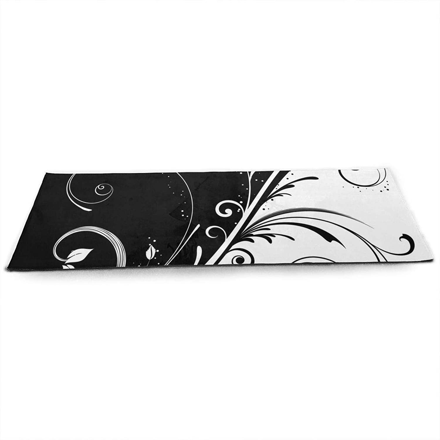 Black and White Symmetrical Flower ECO Aqua Power Kinematic Iyengar Kundini Hot Pilates Gymnastics Hatha Yoga Mat Exercise Mat