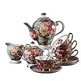 Inicio del juego de té de porcelana Copa de Europa de café de la flor Conjunto de cerámica de porcel...