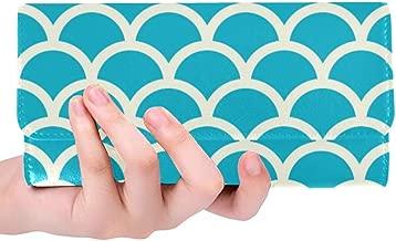 Unique Custom Seamless Blue And Grey Fish Pattern Fish Scale Ba Women Trifold Wallet Long Purse Credit Card Holder Case Handbag